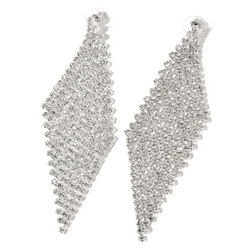 AAA White Austrian Crystal Chandelier Earrings (with Push Back) in Silver Tone