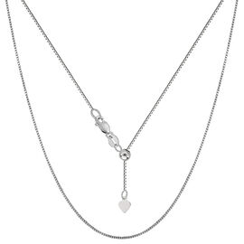 Heart Slider Adjustable Chain in Sterling Silver 24 Inch