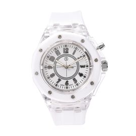 STRADA Japanese Movement Water Resistance Watch with White Colour Silicone Strap