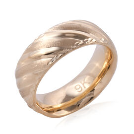 Designer Inspired- Premium Collection Handmade 9K Yellow Gold Textured and High Polish Band Ring (Size M), Go