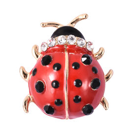 Black and White Austrian Crystal Enamelled Ladybug Brooch in Gold Tone