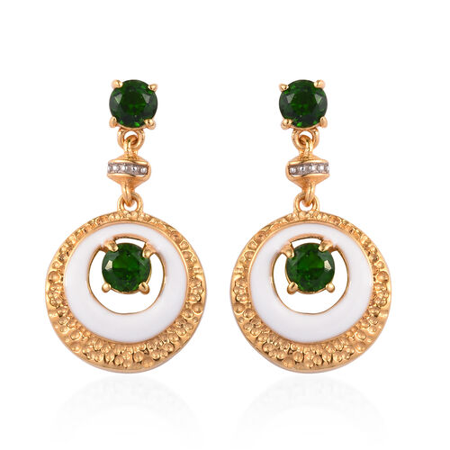 Russian Diopside Enamelled Earrings (with Push Back) in 14K Gold Overlay Sterling Silver 1.25 Ct, Si