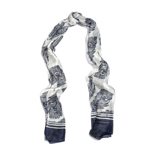 100% Mulberry Silk Navy and White Colour Handscreen Peacock Feather Printed Scarf (Size 200X180 Cm)