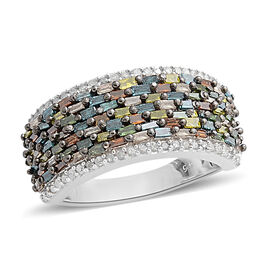 Multi Colour Diamond (Bgt and Rnd) Ring in Platinum and Black Overlay Sterling Silver 1.000 Ct.