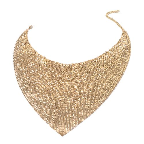 Glittering Gold Collar Necklace (Size 20 and 3.5 inch Extender) and Hook Earrings in Gold Tone