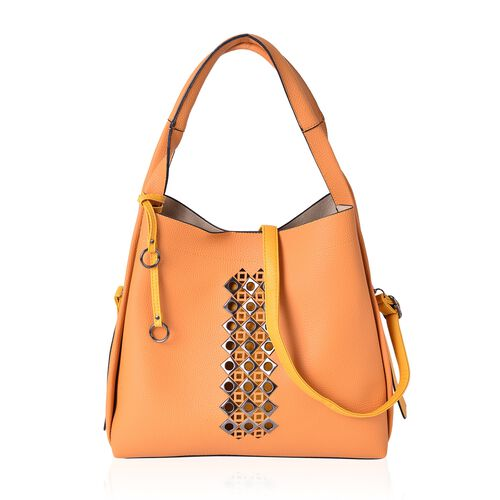 Set of 3 - Orange Colour Tote Bag (Size 33X31X12.5 Cm), Sling Bag (Size 29X24X10 Cm) and Wristlet Bag (Size 23.5X14.5 Cm)