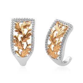 Diamond Oak Leaf J Hoop Earrings in Platinum and Yellow Gold Plated Sterling Silver