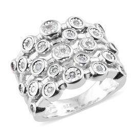 Designer Inspired- Diamond (Rnd) Five Row Split Band Ring in Platinum Overlay Sterling Silver, Silve