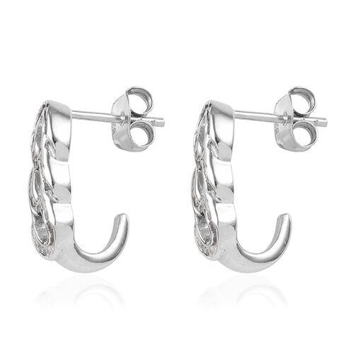 Diamond (Bgt) Curb Link Earrings (with Push Back) in Platinum Overlay Sterling Silver 0.33 Ct, Number of Diamond 112
