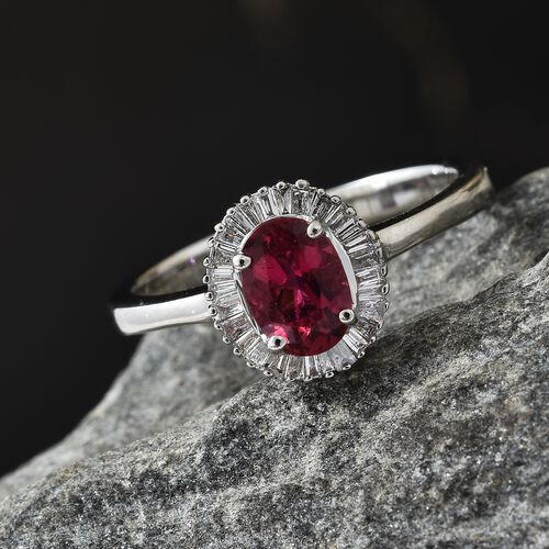 RHAPSODY 950 Platinum Ouro Fino AAAA Rubelite (Ovl), Diamond (VS/E-F) Ring 1.000 Ct.