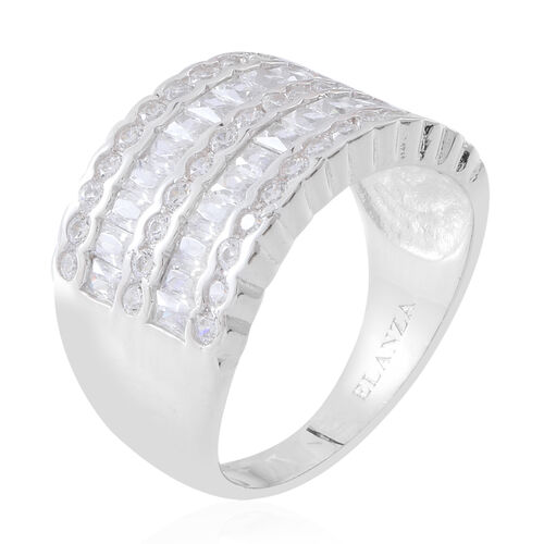 ELANZA Simulated White Diamond (Rnd and Sqr) Ring in Rhodium Plated Sterling Silver, Silver wt 7.60 Gms.