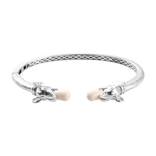 J Francis Ivory Pearl Crystal from Swarovski Elephant Head Cuff Bangle in Platinum Plated 7.5 Inch