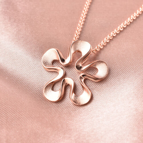 RACHEL GALLEY Sandblast Collection - Rose Gold Overlay Sterling Silver Floral Design Pendant With Chain (Size 30), Silver wt. 10.22 Gms