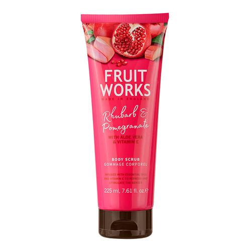 FruitWorks: Rhubarb & Pomegranate Body Scrub (With Aloe Vera & Vitamin E) - 225ml
