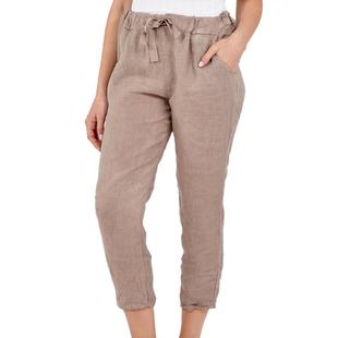 NOVA of London Linen Trousers in Light Khaki (Size 8-14)