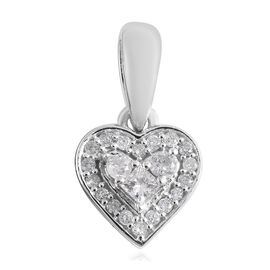 9K White Gold Heart Pendant 0.15 Ct.