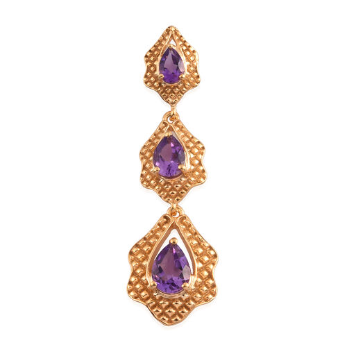 Moroccan Amethyst Dangle Pendant in 14K Gold Overlay Sterling Silver 2.04 Ct.