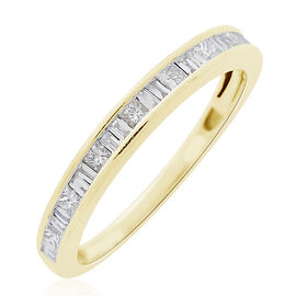 ILIANA 18K Yellow Gold 0.50 Carat IGI Certified Diamond (SI/G-H) Half Eternity Band Ring