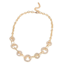 White Austrian Crystal Link Necklace (Size 22 with Extender) in Gold Tone
