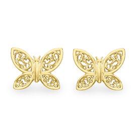 Filigree Butterfly Stud Earrings in 9K Yellow Gold
