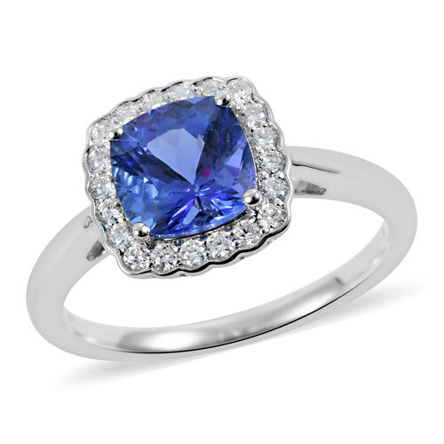 ILIANA 18K White Gold AAA Tanzanite and Diamond (SI/G-H) Ring 1.90 Ct.