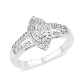 14K White Gold SGL Certified Diamond (Rnd and Mrq) (I1-I2/G-H-I) Ring 0.33 Ct.