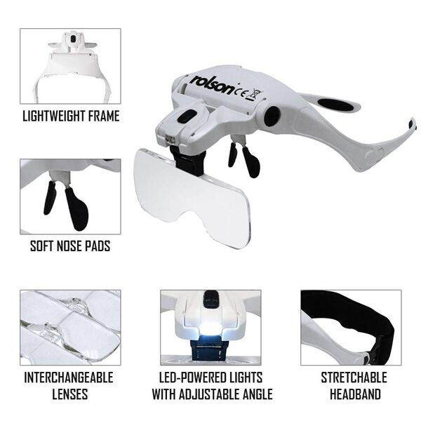 Rolson Magnifying Glasses with 2 LED in White and Black Colour (3 AAA Batteries Included)