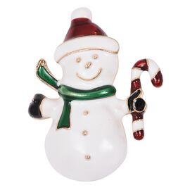 Snowman Brooch in Gold Tone