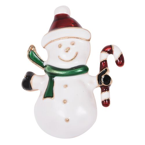 Snowman Brooch in Gold Tone