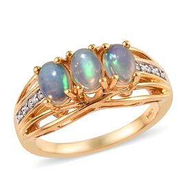 1 Carat Ethiopian Welo Opal and Diamond Trilogy Ring in Gold Plated Sterling Silver