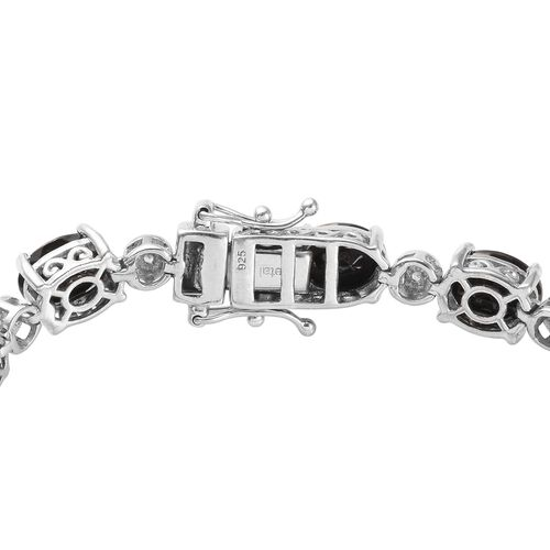 Elite Shungite (Ovl), Natural Cambodian Zircon Bracelet (Size 8) in Platinum Overlay Sterling Silver 11.250 Ct., Silver wt. 14.27 Gms