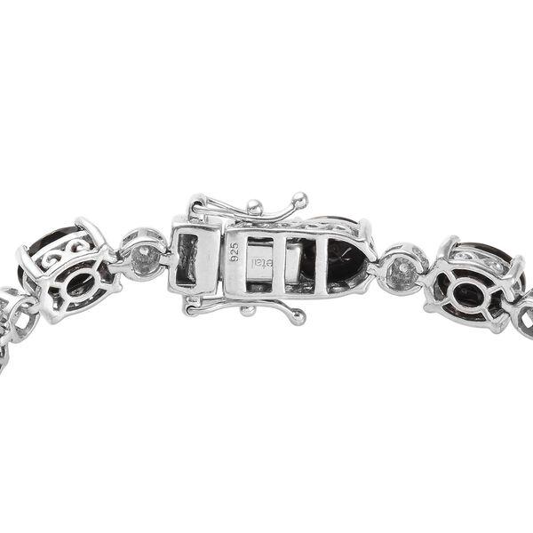 Elite Shungite (Ovl), Natural Cambodian Zircon Bracelet (Size 7) in Platinum Overlay Sterling Silver 11.250 Ct., Silver wt. 13.21 Gms
