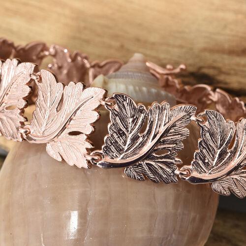 Designer Inspired Oak Leaf Bracelet (Size 7.5) in 18k Rose Gold Plated