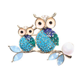 Multi Colour Austrian Crystal, Simulated Pearl and Simulated Sky Blue Topaz Owl Brooch in Gold Tone