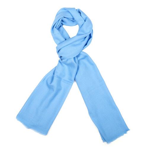 100% Cashmere Wool Light Blue Colour Scarf (Size 190x70 Cm)
