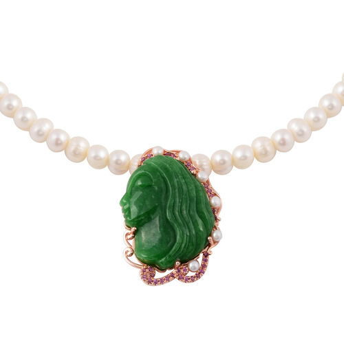 Face Carved Green Jade and Multi Gemstone Beaded Necklace in Rose Gold Plated Silver 18 Inch