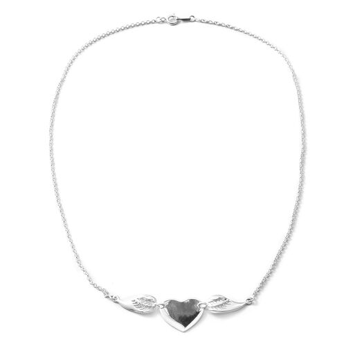 Designer Inspired-Sterling Silver Heart Necklace (Size 20), Silver wt 8.74 Gms.