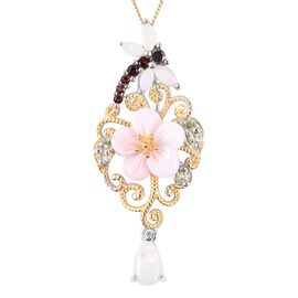 Multi Gem Stone Sterling Silver Pendant With Chain  3.630  Ct.