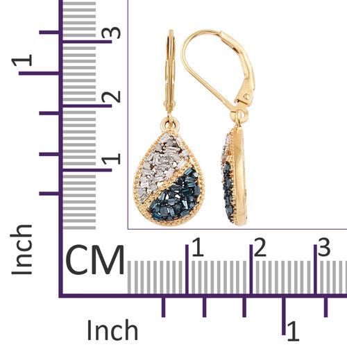 Blue and White Diamond (Bgt) Lever Back Drop Earrings in 14K Gold and Platinum Overlay with Blue Plating Sterling Silver 0.500 Ct.