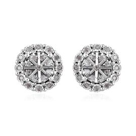 Diamond Stud Cluster Earrings with Push Back in Platinum Plated Silver 0.20 Ct