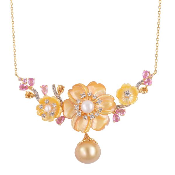Jardin Collection - Yellow Mother of Pearl, South Sea Golden Pearl, Pink Sapphire and Multi Gemstone
