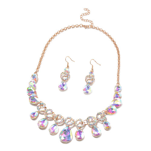 2 Piece Set - Simulated Mercury Mystic Topaz and Simulated White Mystic Crystal Necklace (Size 20 wi
