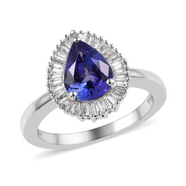 RHAPSODY 1.95 Carat AAAA Tanzanite and Diamond Halo Ring in 950 Platinum 5.50 Grams