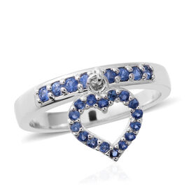 Kanchanaburi Blue Sapphire (Rnd) Ring with Heart Charm in Rhodium Overlay Sterling Silver