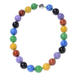 Multi Colour Jade (Rnd 19mm) Necklace (Size 20) in Rhodium Overlay Sterling Silver 1250.00 Ct.