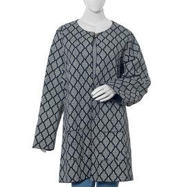 100% Cotton Black Colour Quilted Reversible Jacket (Size 108x87 Cm, M/L)