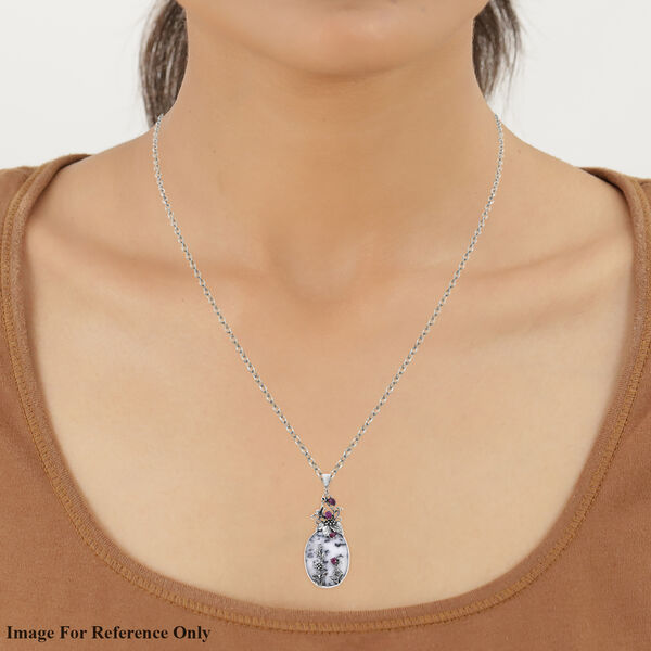 Bali Collection Extremely Rare Size Dendritic Agate and  Ruby Sterling Silver Pendant TGW 100.830 ctw