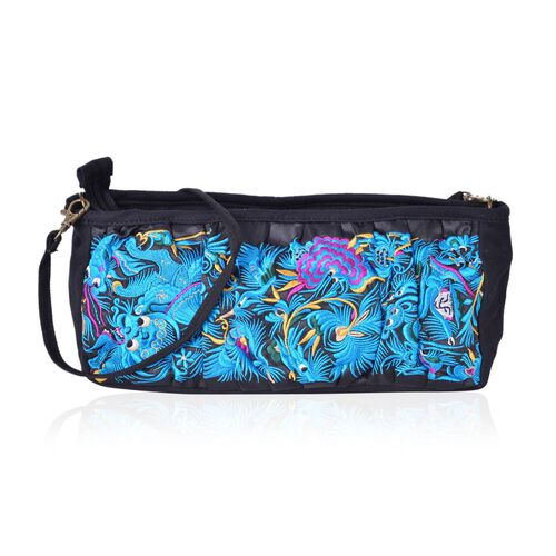 Shanghai Collection Royal Blue Dragon Embroidered Crossbody Bag with Removable Shoulder Strap (Size 27X13X10 Cm)