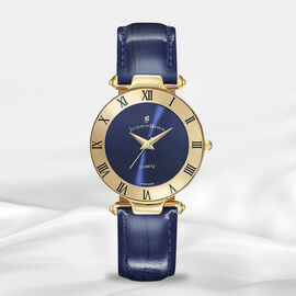 Jacques Du Manoir Swiss Movement Blue Dial Water Resistant Coupole Watch with Blue Strap - 33mm
