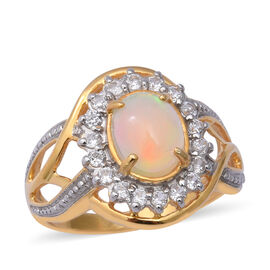 Ethiopian Welo Opal (Ovl 9x7 mm), Natural Cambodian White Zircon Ring in Two Tone Overlay Sterling S